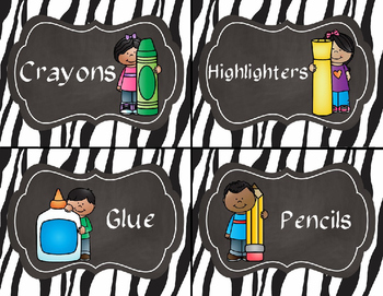 Zebra Supply and Math Manipulative Bin Labels