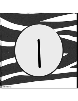 Zebra Table Number Signs