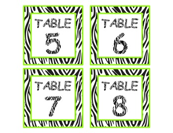 Zebra Table Numbers - Green