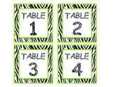 Zebra Table Numbers - Green