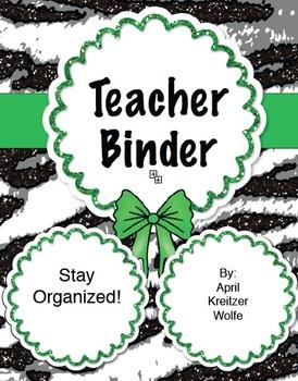 Zebra Teacher Binder