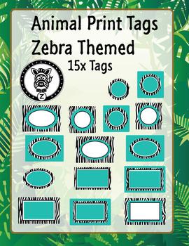 Zebra & Teal Animal print labels