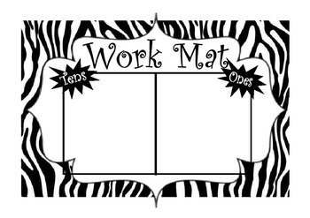 Zebra Tens and Ones Playdough mat