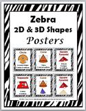 Zebra Theme Classroom Decor 2D Shapes and 3D Shapes
