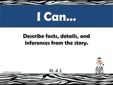 "Zebra Theme 4th Grade Common Core Math and ELA ""I Can"" Posters"