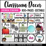 Zebra Theme Classroom Decor