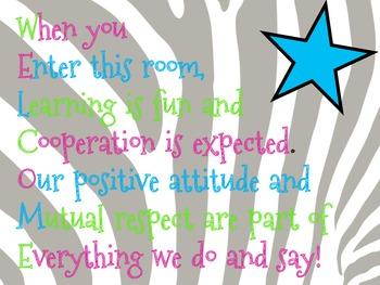 Zebra Theme Classroom Poster Set