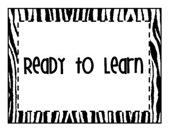 Zebra Theme Clip Chart