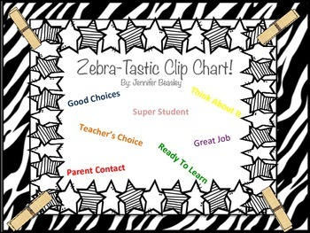 Zebra Theme Clip Chart--Behavior Management