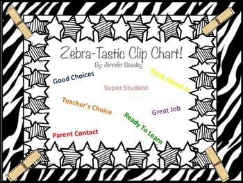 Zebra Theme Clip Chart--Behavior Management
