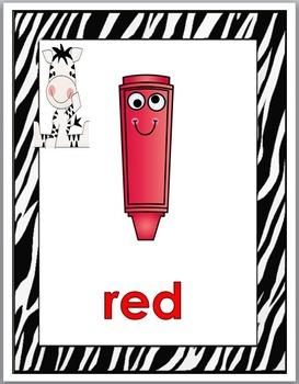 Zebra Theme Classroom Decor - Color Word Posters