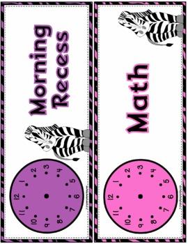 Zebra Theme Schedule Cards
