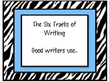 Zebra Theme Six Traits of Writing Posters