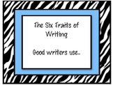 Zebra Theme Six Traits of Writing Posters