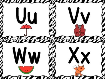 Zebra Word Wall Letters With Pictures