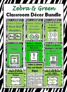 Zebra Theme Classroom Decor Bundle - More Than 50% Discount