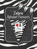 Zebra Themed Alphabet Pennants Classroom Decor
