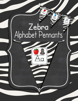 Zebra Themed Alphabet Pennants Classroom Decor