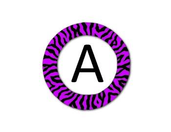 Zebra Themed Alphabet - Round