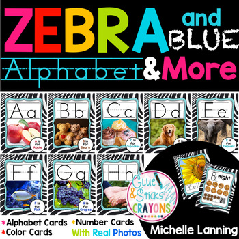 Zebra & Blue Themed Alphabet,Colors and Numbers with Real photos!