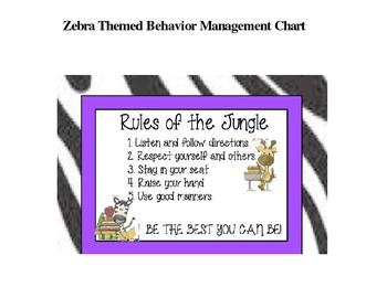 Zebra Themed Behavior Management Chart