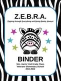 Zebra Themed Binder Covers