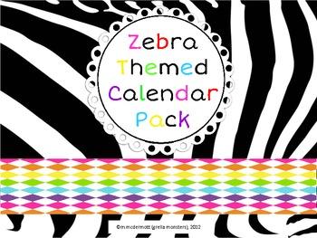Zebra Themed Calendar Pack