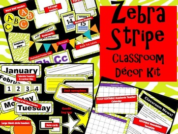 Zebra Themed Classroom Decor Kit -  Green - FULLY EDITABLE