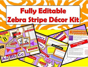 Zebra Themed Classroom Decor Kit -  Orange - FULLY EDITABLE