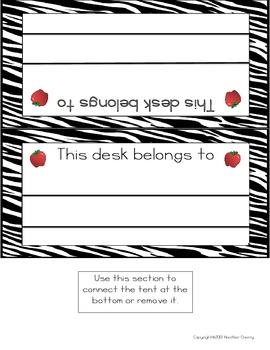 Zebra Themed Classroom Label Pack