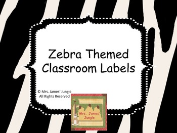Zebra Themed Classroom Labels