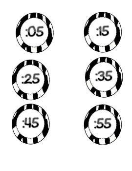 Zebra Themed Clock labels with Time Increments