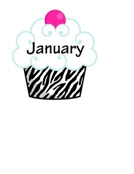 Zebra Themed Cupcake Birthday Bulletin Board Display