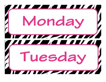 Zebra Themed Day of the Week Headers