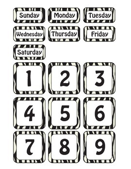 Zebra Themed Days of the Week and Calendar Numbers