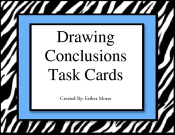 Zebra Themed- Drawing Conclusions Task Cards