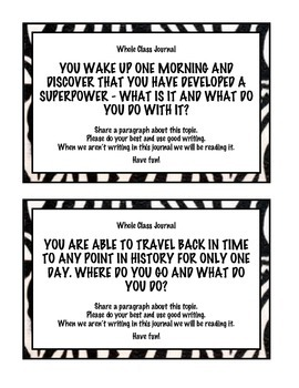 Zebra Themed Expository Writing Journal Prompts