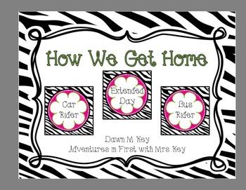 Zebra and Flower Themed-How We Get Home {Transportation} {Dismissal}