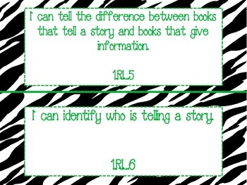 "Zebra Themed ""I Can"" Statements for ALL 1st Grade CC Standards-Green Lettering"