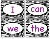 Zebra Themed Kindergarten Sight Words