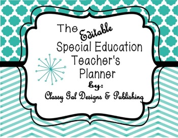 Editable Special Education Teacher's Planner (Chevron Turquoise Plan book)