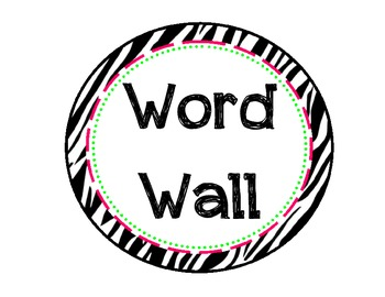 Zebra Themed Letters for Word Wall