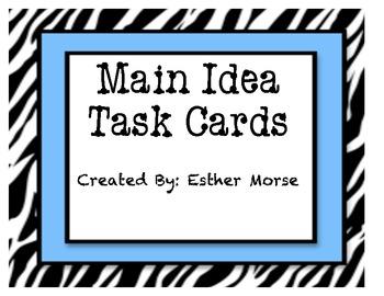 Zebra Themed Main Idea Task Cards