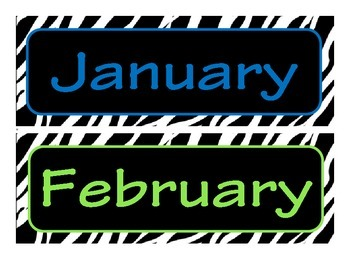 Zebra Themed Month of the Year Headers