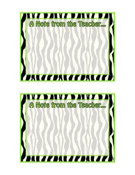 Zebra Themed Note from the Teacher