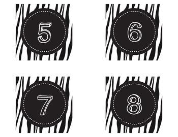 Zebra Themed Number Labels 1-60