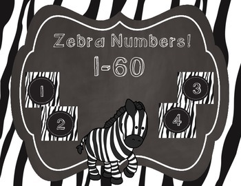 Zebra Themed Number Labels 1-60
