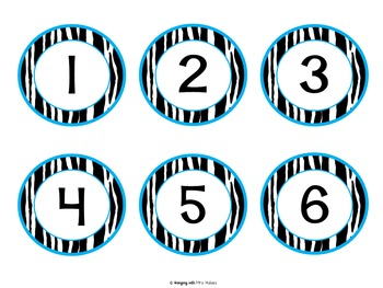 Editable Zebra Numbers, Letters, and Nameplates (Blue Theme)