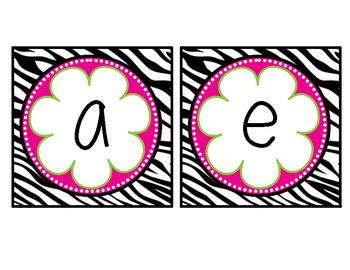 Zebra and Flower Themed Table Labels {Vowels and Numbers}