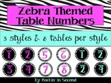 Zebra Themed Table Numbers